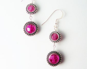 Rose Pink Swarovski Crystal Earrings   / Drop  Dangle / Modern