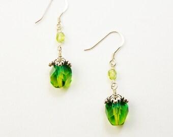 Green Czech Glass Earrings / Dangle  /   Spring Green /  St Patricks Day /  Woodland