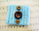 LOLA  Recycled Sweater Felted Wool Bracelet With Vintage Buttons