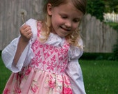 READY TO SHIP, Sweet and Pink Handmade Boutique Sundress or Jumper by Sophie Lynn, Size 4T/5T