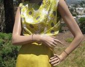 Vintage 50s Golden Sunflower Print Silk Two Piece Summer Cocktail Dress & Jacket Set