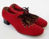 Vintage 60s Mod Cherry Red Suede Leather Mary Quant Carnaby Street Lace Up Mary Jane High Heels 8
