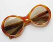 Vintage 60s 70s Sunglasses Orange Tortoise Shell Mod Italian Sunglasses Summer Shades