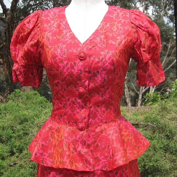 Vintage 50s Red Floral Garden Party Sun Dress & Matching Bolero Peplum Jacket Suit Set