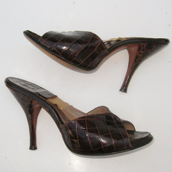 Vintage 50s Brown Alligator Leather Peep Toe Mad Men Rockabilly Springolator High Heel Pin Up Cha Cha Dance Shoes 5 1/2