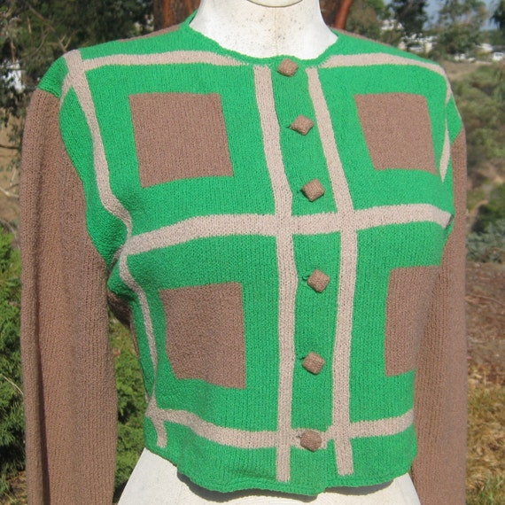 Reserved - Vintage 30s 40s Green Color Block Art Deco Rayon Knit Cropped Button Up Cardigan Sweater