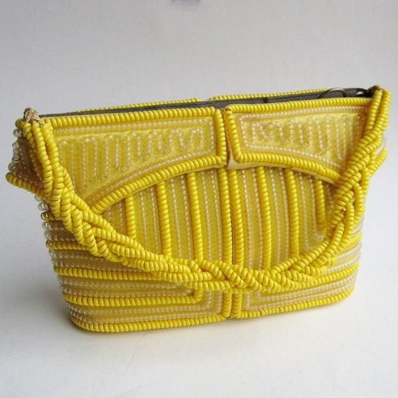 Vintage 40s Sunny Yellow Telephone Cord Novelty Rockabilly Viva Las Vegas Purse Handbag