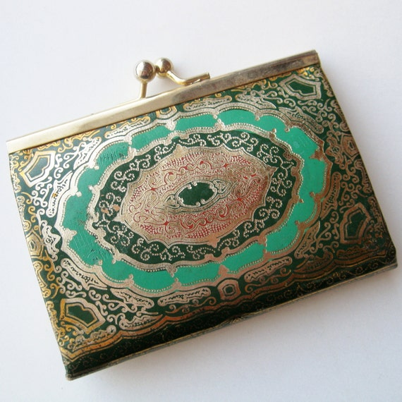 Vintage 40s 50s Gold & Emerald Green Gilded Florentine Italian Leather Change Coin Purse Florence Italy