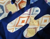 Vintage Kimono Fabric Remnants - Scrap Bag Blue Mix