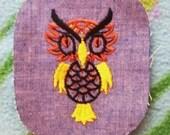 Owl - Vintage 1970's Sewing Patch Applique