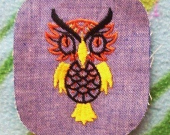 Owl - Vintage 1970's Sewing Patch Applique