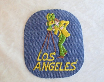 Los Angeles Retro Movie Film Green Yellow Vintage Sewing Patch Applique 1970's