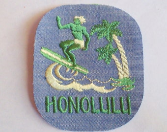 Honolulu Hawaii Surfer Water Palm Trees Waves Green and Yellow Vintage Sewing Patch Applique 1970's