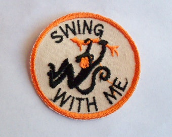 Swing With Me Monkey Hanging from tree Retro Sewing 1970's New Vintage Patch Applique
