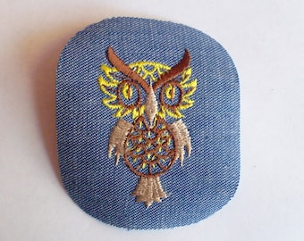 Yellow Brown Tan Perched Owl Vintage Retro Sewing Patch Applique