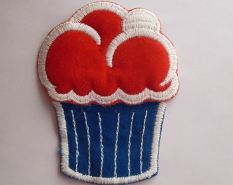 Red White Blue Fun Dessert Large Velveteen Cupcake Collectible 1970's Vintage Sewing Patch Applique