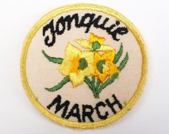 Month of March Jonquil Yellow Vintage 1970's Sewing Patch Collectible