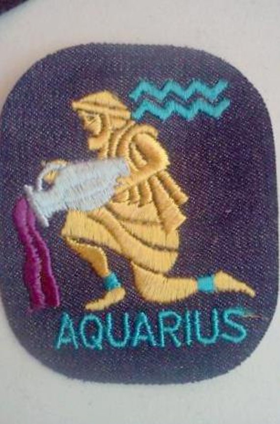 Aquarius Zodiac - Vintage 1970's Sewing Patch Applique