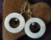 Mother of Pearl with Blue Goldstone Earrings