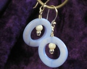 Blue Mother of Pearl Circle Earrings