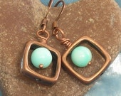 Blue Opal and Antique Copper Earrings