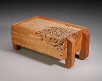 """Mahogany and Sapele """"Anthemon"""" Chrysanthemum Jewelry Box - Medium MADE TO ORDER"""