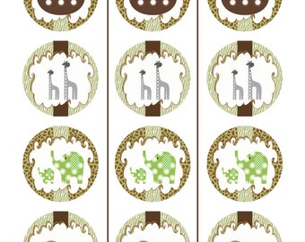 Instant Download - Noah's Ark Printable Cupcake Toppers  - 2 inch - Free Editable Tent Card File with Purchase