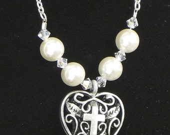 Heart Locket Necklace with Pearls and Crystals