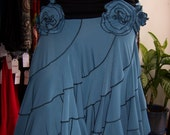 Reserved for jena king only , do not purchase it Black and blue color skirt or tube dress with roses decoration (v48)