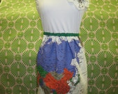 World map design dress with rose decoration plus made in USA