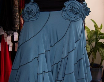 This is a Black and blue color skirt or tube dress with roses decoration (v48)