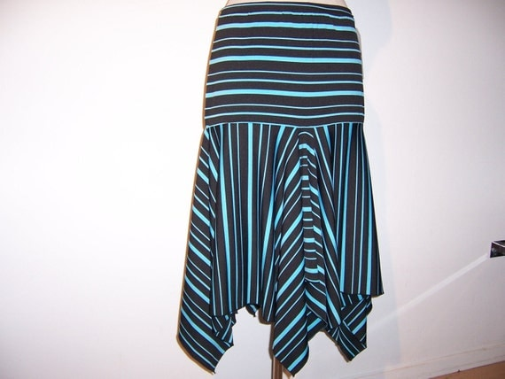 Blue and Black Stripe Skirt with ruffled edging plus made in USA (V166)