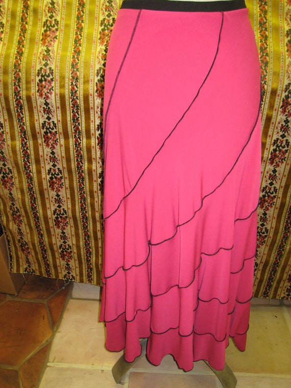 Burgundy color long skirt with black stitching and ruffled edging (V 147)
