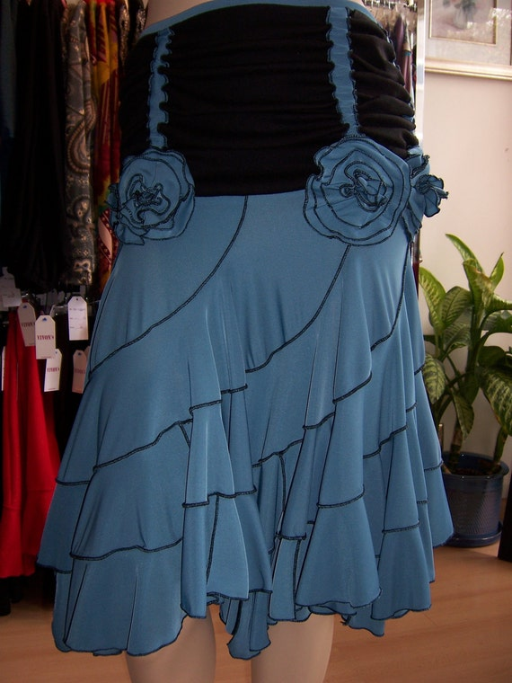 Black and blue color skirt or tube dress with roses decoration (v48)