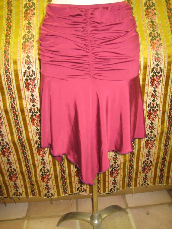 Burgundy color skirt with gathered design plus made in USA