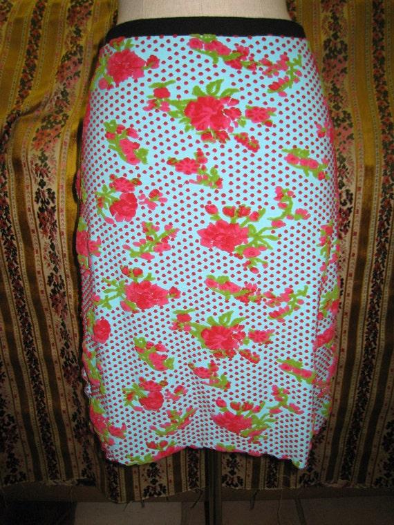 Velvet floral burnout knee length skirt ( v63)