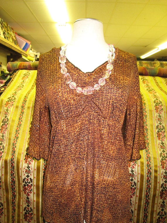 Brown color with mix prints v-neck top with wide sleeves (v182)