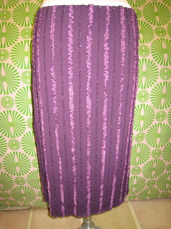 Hand made Purple color A-Line skirt with pleated design plus made in USA
