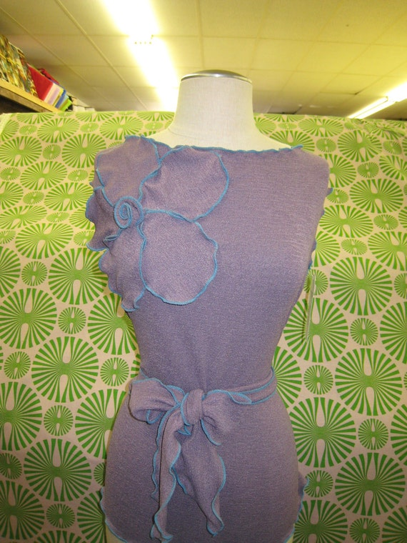 Purple color wide neck tank top with rose decoration plus made in USA
