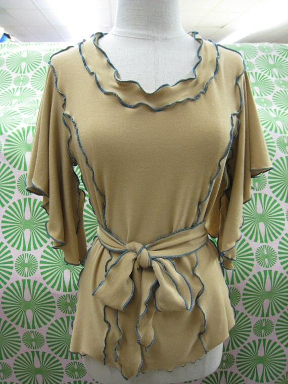 Camel color wide sleeves top with ruffled edging and optional belt plus made in USA