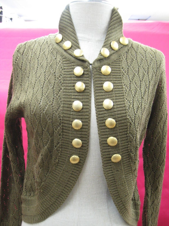 Summer brown color sweater cardigan with gold buttons for decoration