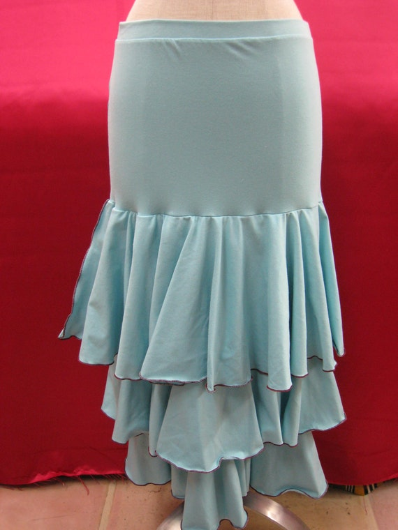 Aqua color long skirt or tube dress with 3 layers plus made in USA