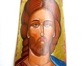 Jesus Christ - orthodox style icon on ceramic tile, original, 13 by 6,5 inches