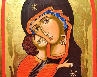 Madonna  and Christ child - The Virgin of Vladimir - handpainted orthodox icon 15.4 by 13 inches - MADE TO ORDER