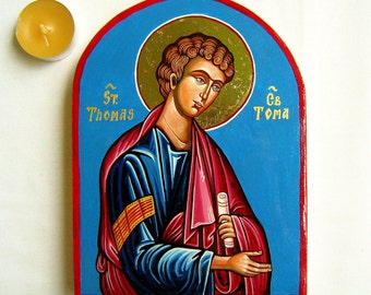 St Thomas, Sveti Toma - handpainted icon orthodox style, 6 x 8 inches - MADE TO ORDER