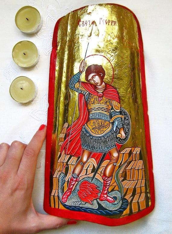 Saint George fighting the Dragon, St Georgi- original orthodox style icon, handpainted on ceramic tile,11.5 x 6 inches