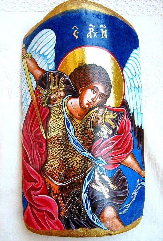 Saint  Archangel Michael - handpainted orthodox  icon on a tile, 11 by 6 inches - MADE TO ORDER