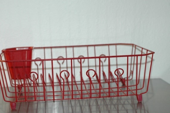 Vintage Red Wire Dish Drainer Drying Rack