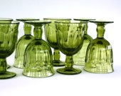 RESERVED for CCAguiar1. Moss. Set of 8 Green Provincial  Pattern Noritake Crystal  Wine Glasses - Great Christmas or Spring Wedding Gift