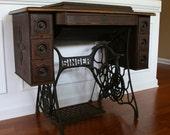 Vintage Singer Treadle Sewing Machine Table. RESERVED FOR DANIELLE Rustic. Primitive. School Office Desk. Industrial. Farm.